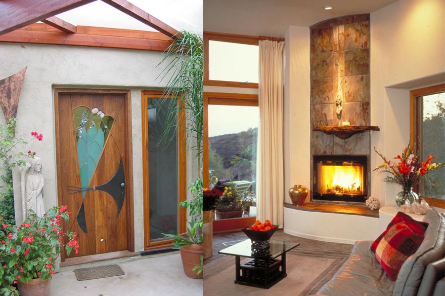 Custom door by James Hubbell. / Living room. Photos by John Durant.