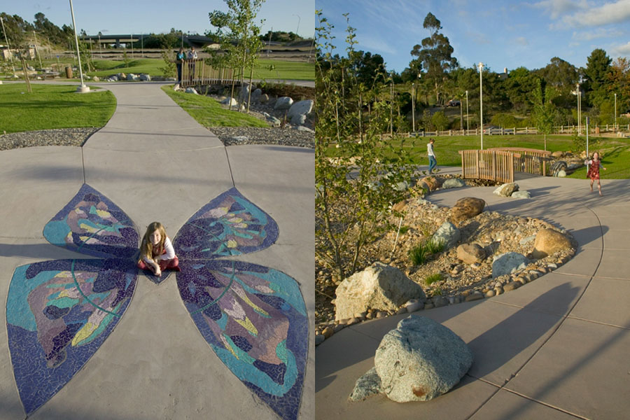 Butterfly mosaic by James T. Hubbell. / Landscape design by Glenn Schmidt. Photos by John Durant.