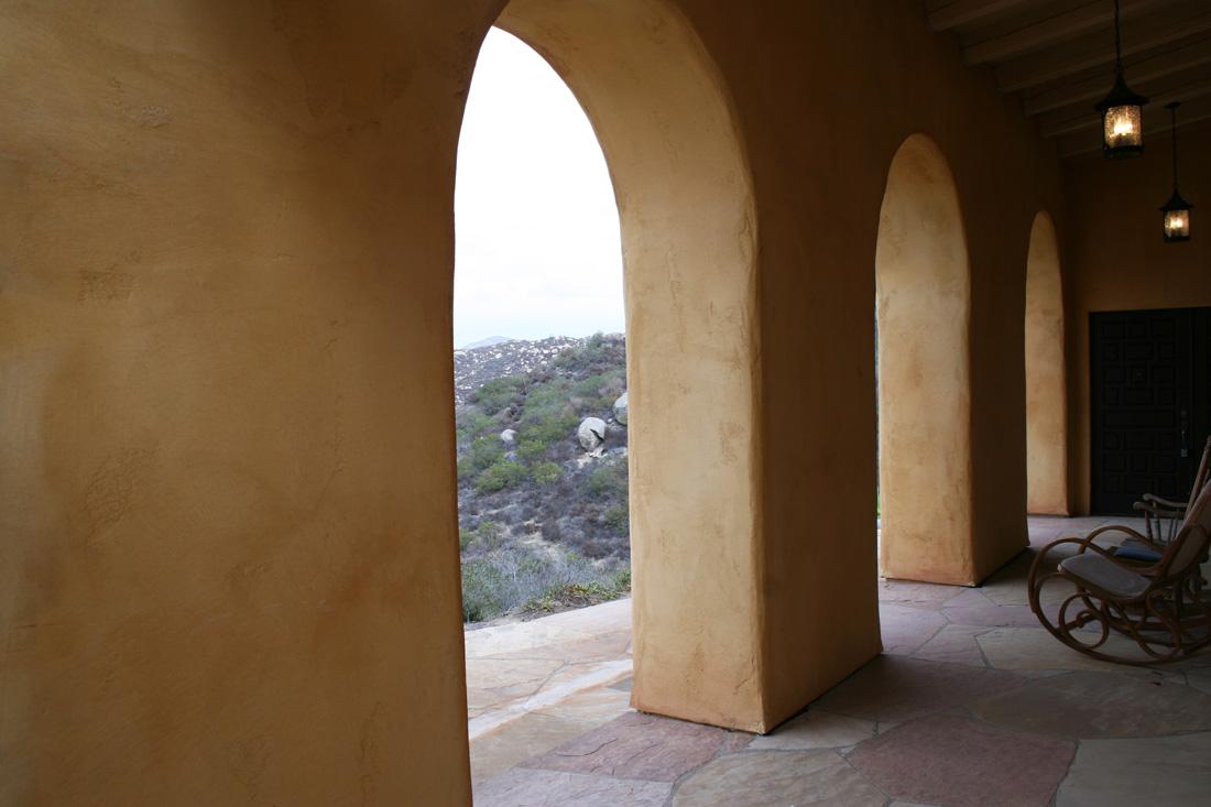 View through arches.