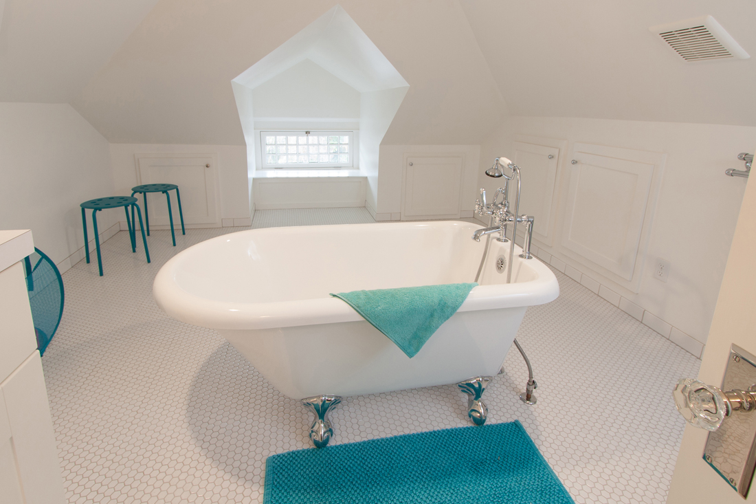 A quiet bathroom in newly finished attic space. Photo by Robert Bruni.