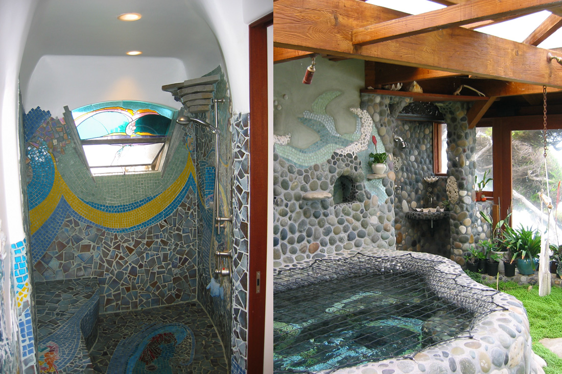 Mosaic Tile Shower and Pond Area.