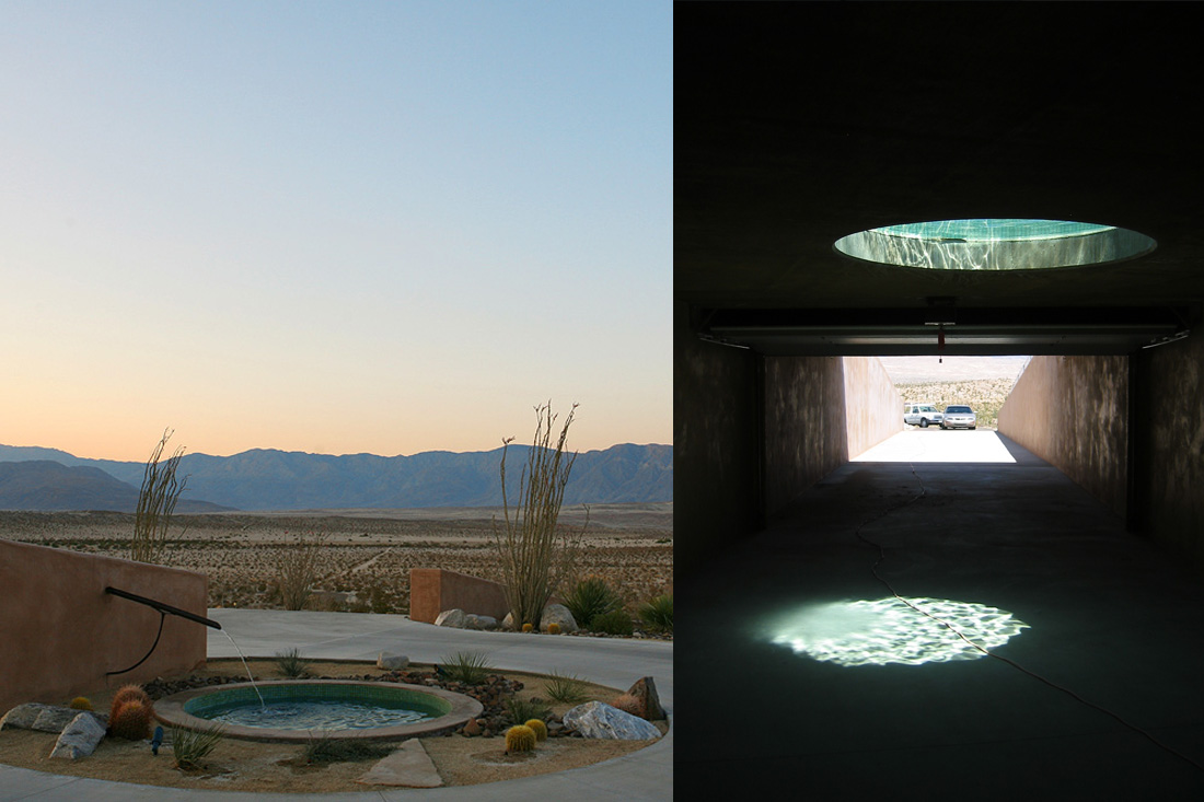 The fountain is a skylight for an underground garage.